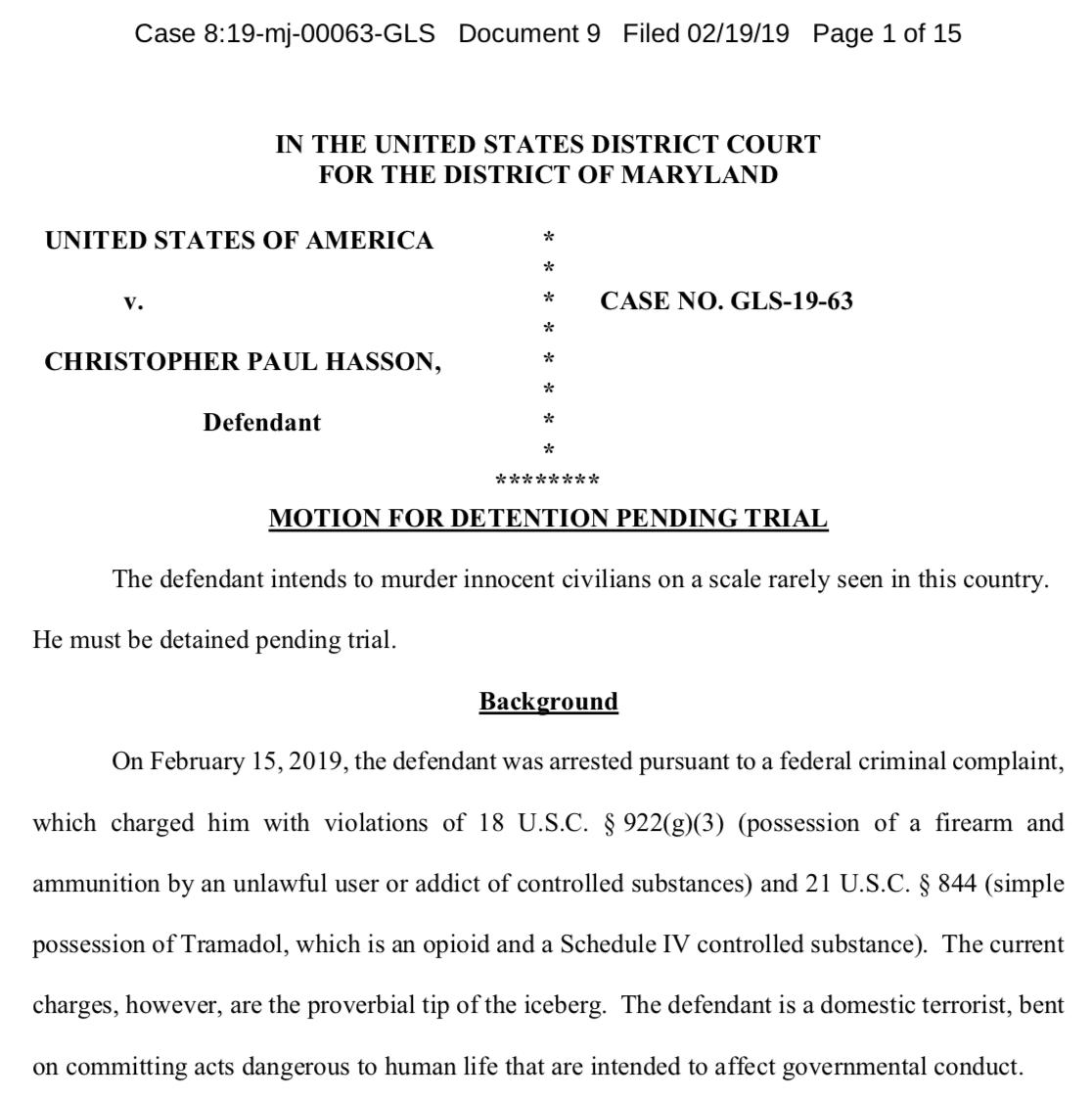 This detention memo @SeamusHughes uncovered is truly unsettling. The prosecutors call the defendant a domestic terrorist. They lay out his nazi writings, his accumulation of weapons, and his excel target list full of cable news figures and politicians. https://assets.documentcloud.org/documents/5745084/Hasson-Detention-Memo.pdf…