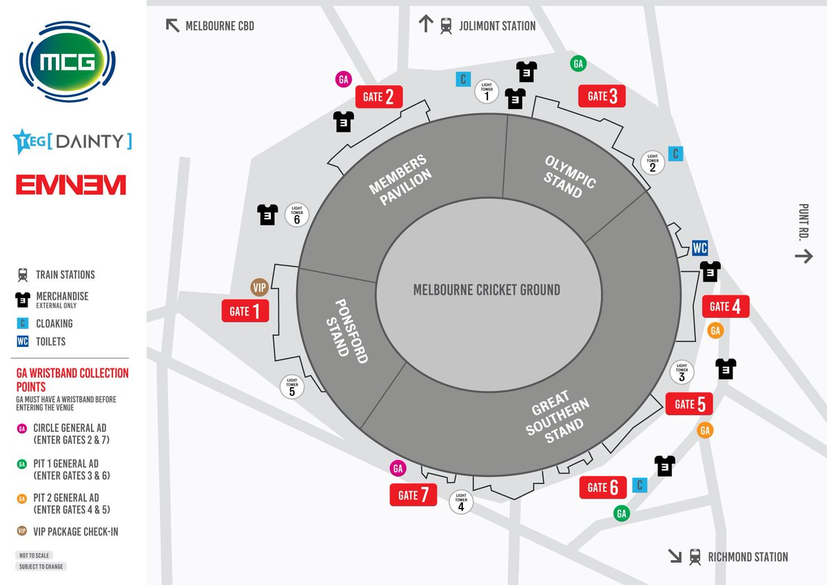 Don't lose yourself... Wristband, external merchandise and cloaking locations below 👇  Please note: All general admission guests need to collect a wristband prior to entering the venue 🏟️  Get all of the event info here: https://bit.ly/2TcebFI