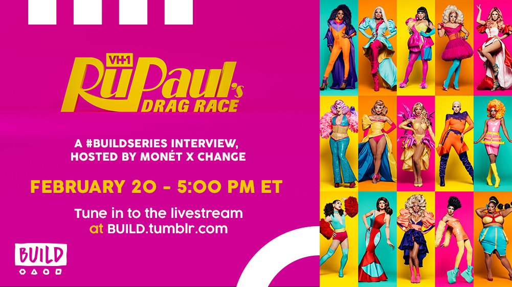 .@BUILDseriesNYC is live with the queens from this season's @RuPaulsDragRace! Follow along with the stream or catch up on all the action on Tumblr ➡️  https://t.co/D6TvGq7cnL