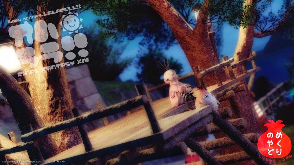 #めくりの宿 のお庭のツリーハウスが2本になってた!!広々空間!!(*´ω`人)お気に入りの場所で夜風に吹かれながら、おはララございますー!!\\٩( 'ω' )و// #FF14 #ララフェル #おはララ #今日のパイッサ
