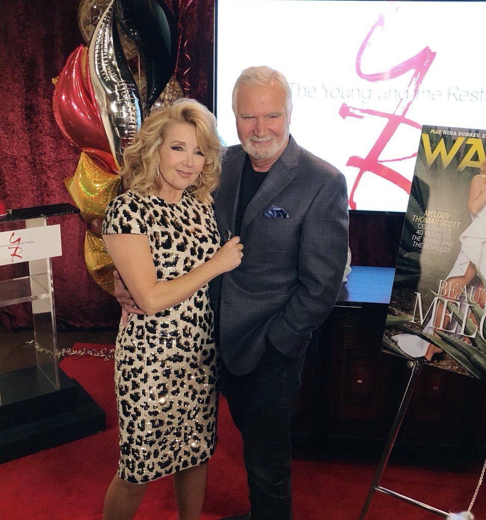 Today @YandR_CBS celebrates 40 years of Nikki Newman. ❤️ #BoldandBeautiful's @JohnMcCook44 made sure to give his congratulations to the amazing @MelodyThomasSco!