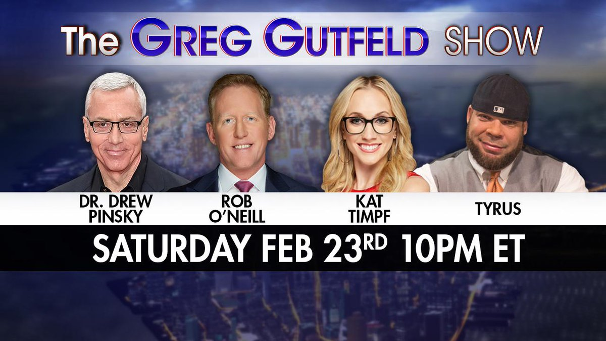 Tomorrow night! @greggutfeld welcomes back @drdrew, @mchooyah, @KatTimpf, and @PlanetTyrus on an ALL NEW #Gutfeld! Only on @FoxNews