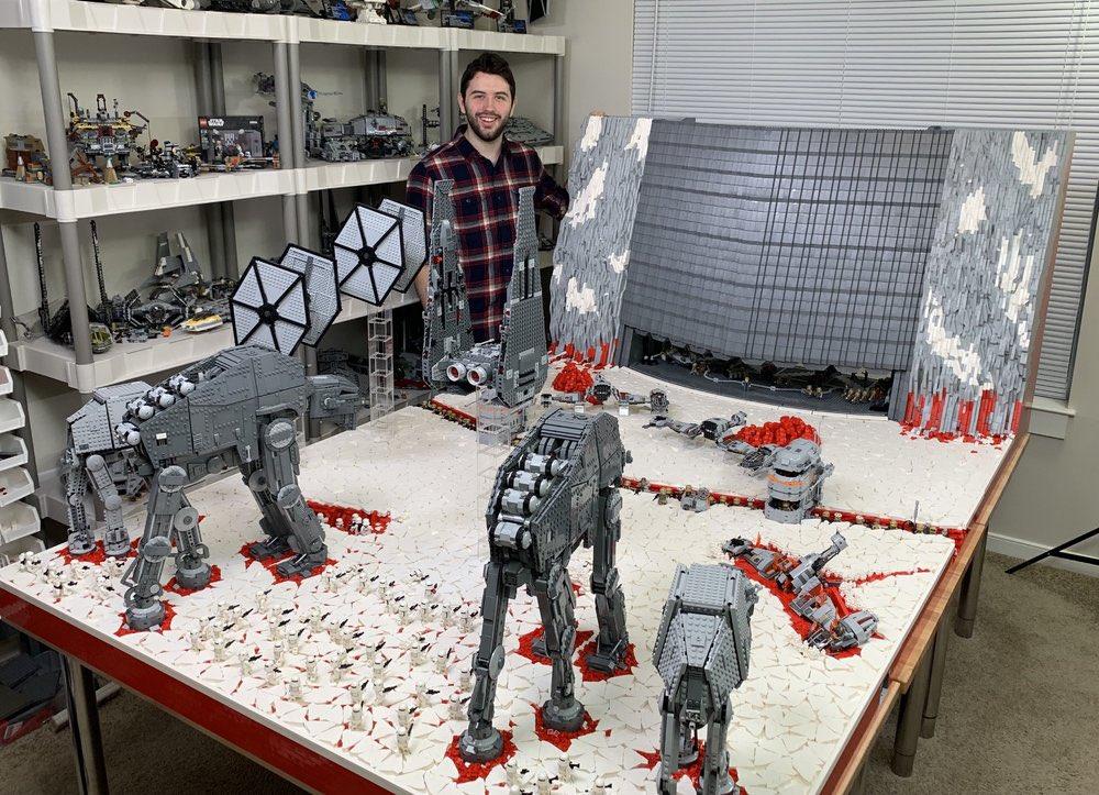 Hey @starwars this is my Battle of Crait, 100,000 bricks.. over 13 months to build! #legostarwars