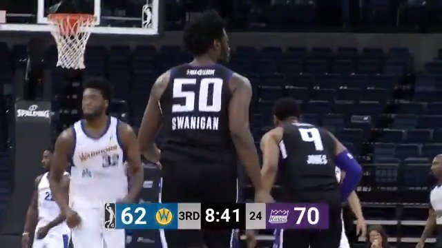 A BIG night for @calebswanigan50 in his debut while on assignment with the @StocktonKings 💪  The @SacramentoKings assignee went for 18 PTS, 18 REB & 5 AST in the win!