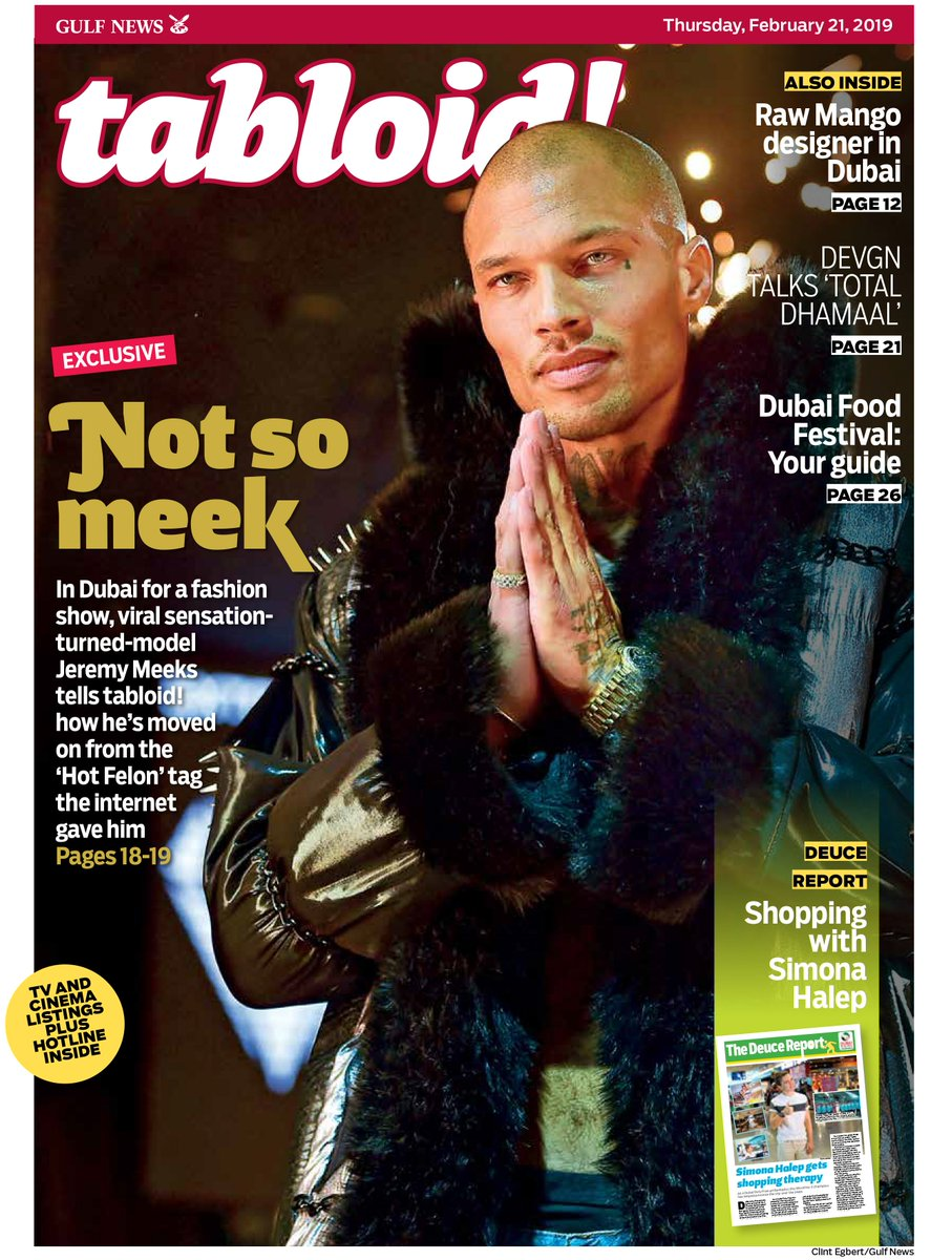 In #Dubai for a fashion show, viral sensation-turned model #JeremyMeeks moves on from his 'Hot Felon' nickname. #TabloidCover  https://t.co/FDGDHUqIyT