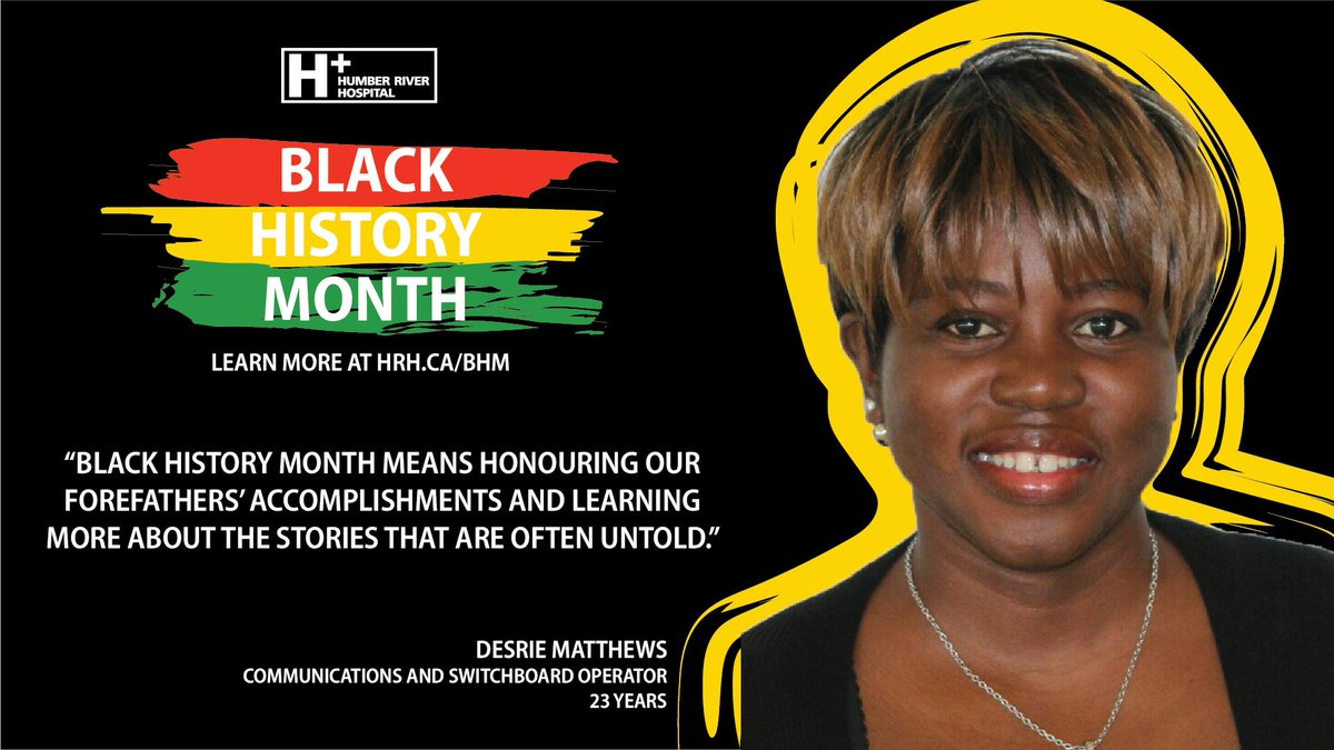 """Black History Month means honouring our forefathers' accomplishment and learning more about the stories that are often untold."" - Desrie Matthews  Switchboard Operator 23 Years  Learn more about #BHM at #HRH: http://ow.ly/JHNb50lM77x   #BlackHistoryMonth #DreamsBroughtToLife"