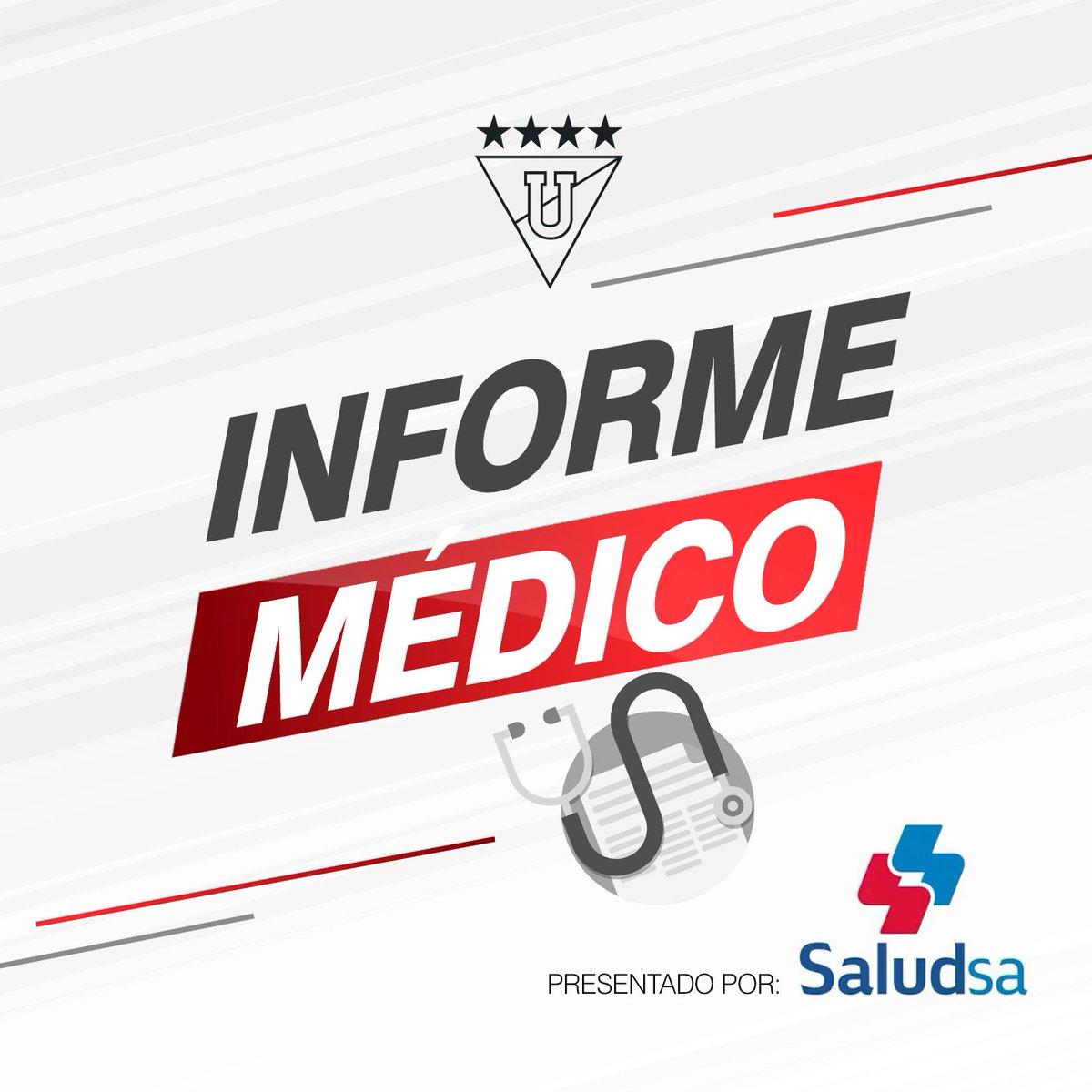El médico albo Richard Cabezas nos comparte una actualización del estado de los guerreros albos lesionados. Informe médico presentado por: @Esaludsa  📋 https://www.ldu.com.ec/home/2019/02/20/informe-medico-19-02-2019/…