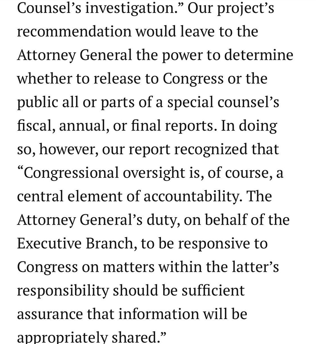 """This 1999 testimony concerning the intent behind the various sections of the Special Counsel regs by its drafters is very helpful, especially with regard to how the AG is expected to """"be responsive to Congress"""" when it comes to sharing the SC's reports. https://www.brookings.edu/testimonies/attorney-generals-special-counsel-regulations/…"""