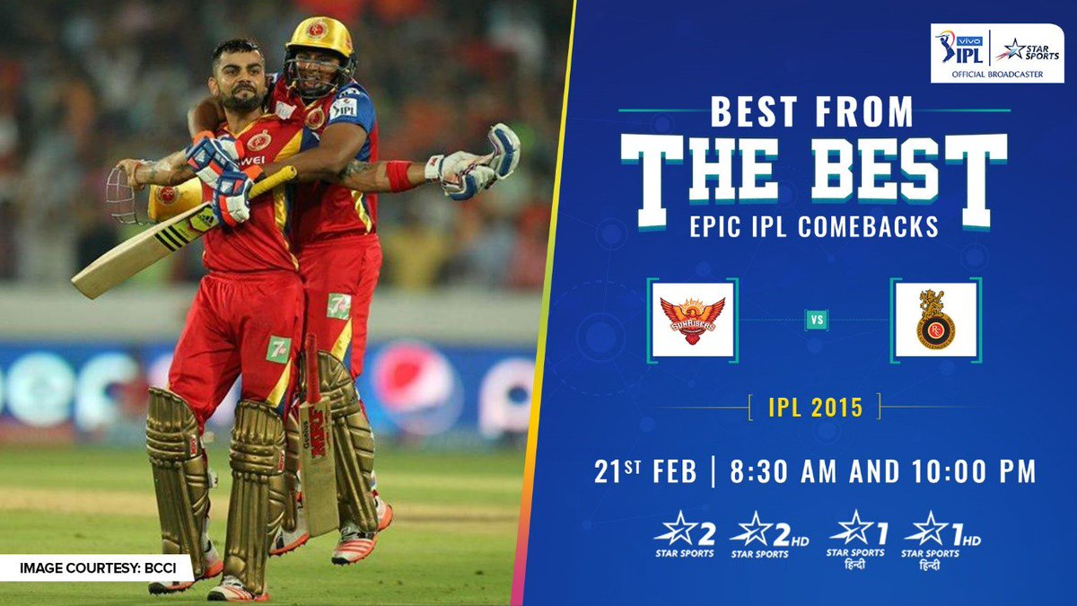 81 runs needed from 6 overs, and out came @imVkohli & @henrygayle – all guns blazing! 🔥   Relive the thrilling #SRHvRCB encounter from the #VIVOIPL 2015 on Best from the Best: Epic IPL Comebacks, today on Star Sports. #VIVOIPLOnStarOnStar