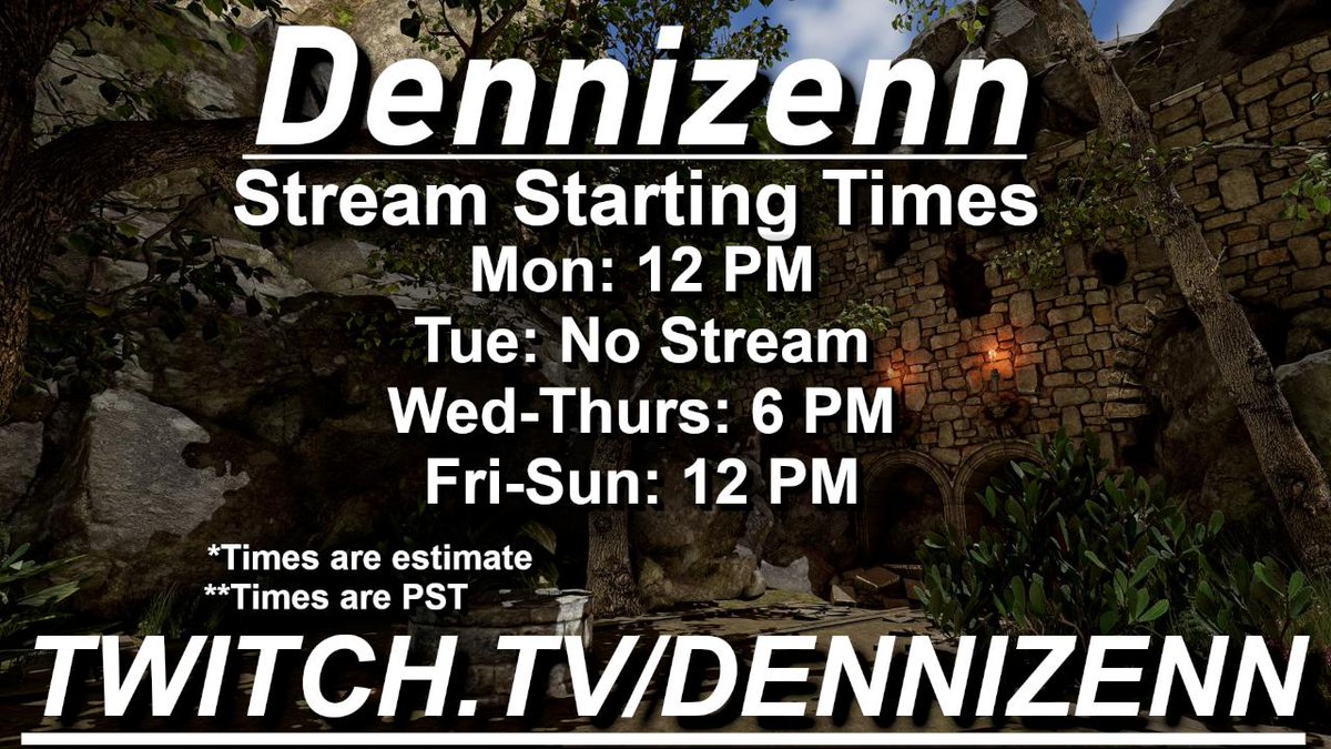 Current Stream Schedule     Hope to see you there!     http:// twitch.tv/dennizenn  &nbsp;      #SoxxieFamily #WeStreamers <br>http://pic.twitter.com/y4W3lJkS90