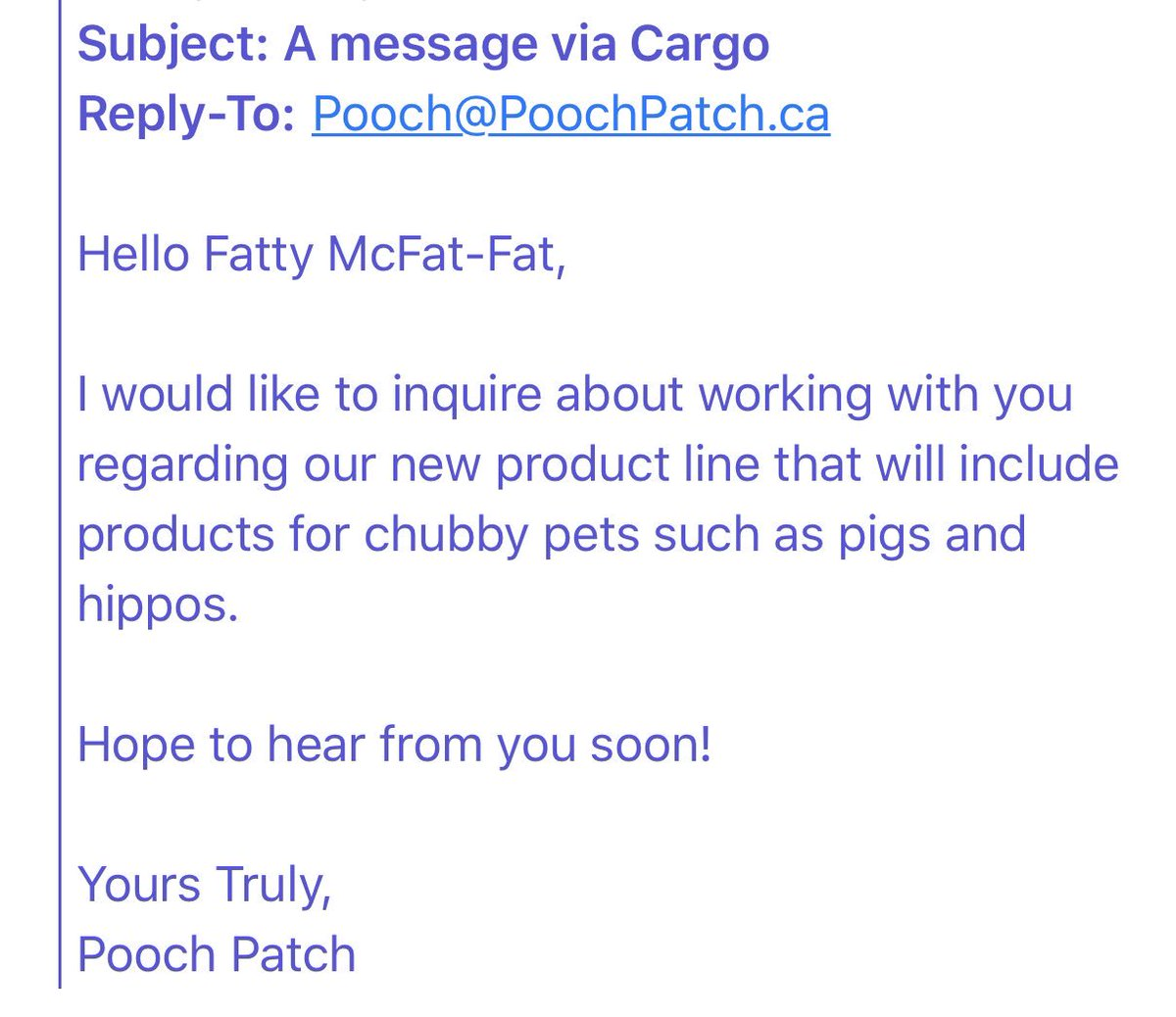 """Hours after company apologizes to customer after @globalnewsto  story, Pooch Patch owner sends another fat-shaming message by email. I've never seen anything quite like this. Calls her """"Fatty McFat-Fat"""". References """"products for chubby pets such as pigs and hippos"""".  Incredible."""