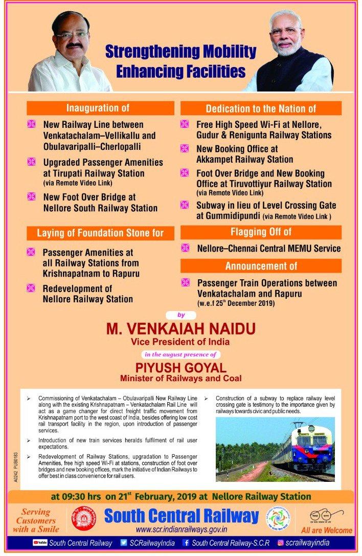 Enhancing Passenger Services: Vice President @MVenkaiahNaidu will be inaugurating new Railway line between Venkatachalam-Vellikallu and Obulavaripalli-Cherlopalli and a host of other Railway projects in Andhra Pradesh today. Watch LIVE at  https://t.co/HxDNds37PF