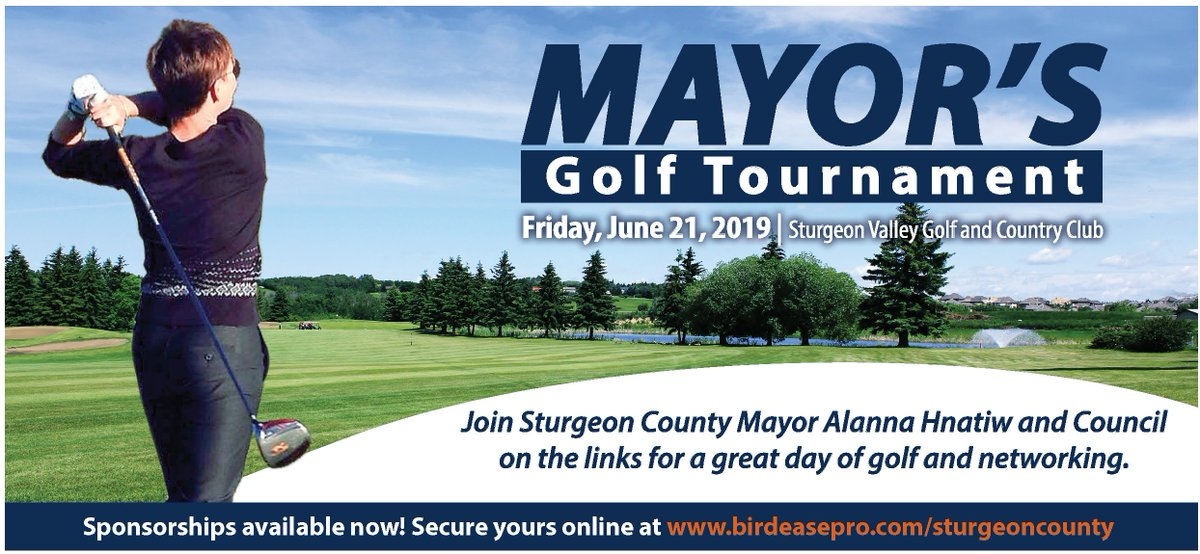 Join Sturgeon County Mayor Alanna Hnatiw and Council on the links for a great day of golf and networking. We have a variety of exclusive and non-exclusive sponsorships available. Secure yours online at http://www.birdeasepro.com/sturgeoncounty