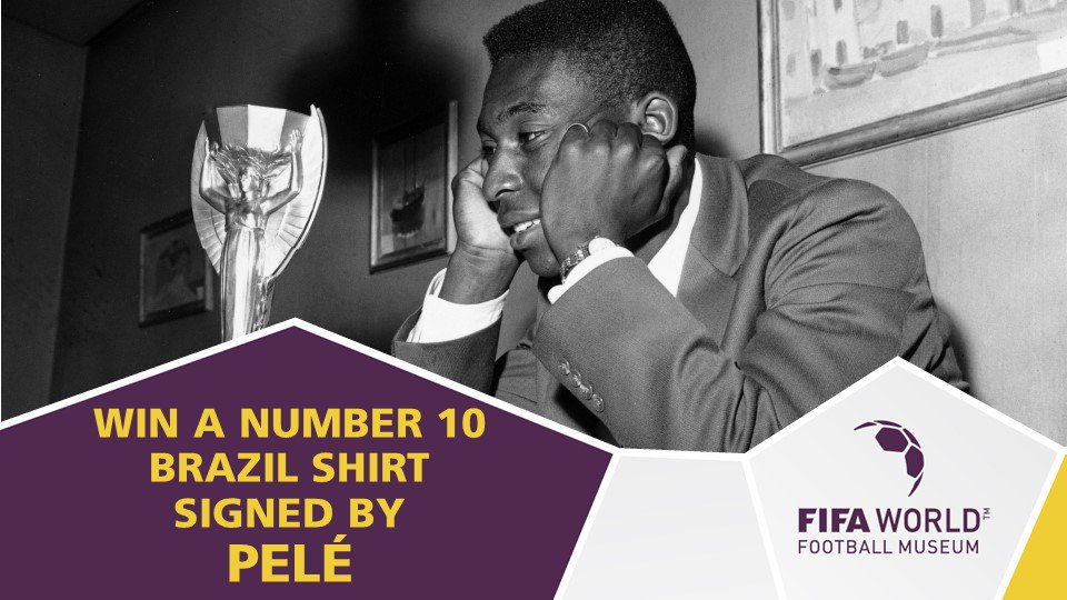 Today is your last chance to enter our prize draw for a number 10 Brazil shirt - signed by @Pele himself 😍🇧🇷  Jump over to our Facebook page for your chance to win: http://bit.ly/FWFMPeleShirt