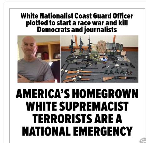 US Coast Guard officer Christopher Paul Hasson 'planned terror attack #GoodNightWhitePride #SmashWhiteSupremacist #USCoastGuard #MaryLand #GoodNightAltRight #SmashFascism #ChristopherPaulHasson #CoastGuard #Antifa #TrumpsAmerica