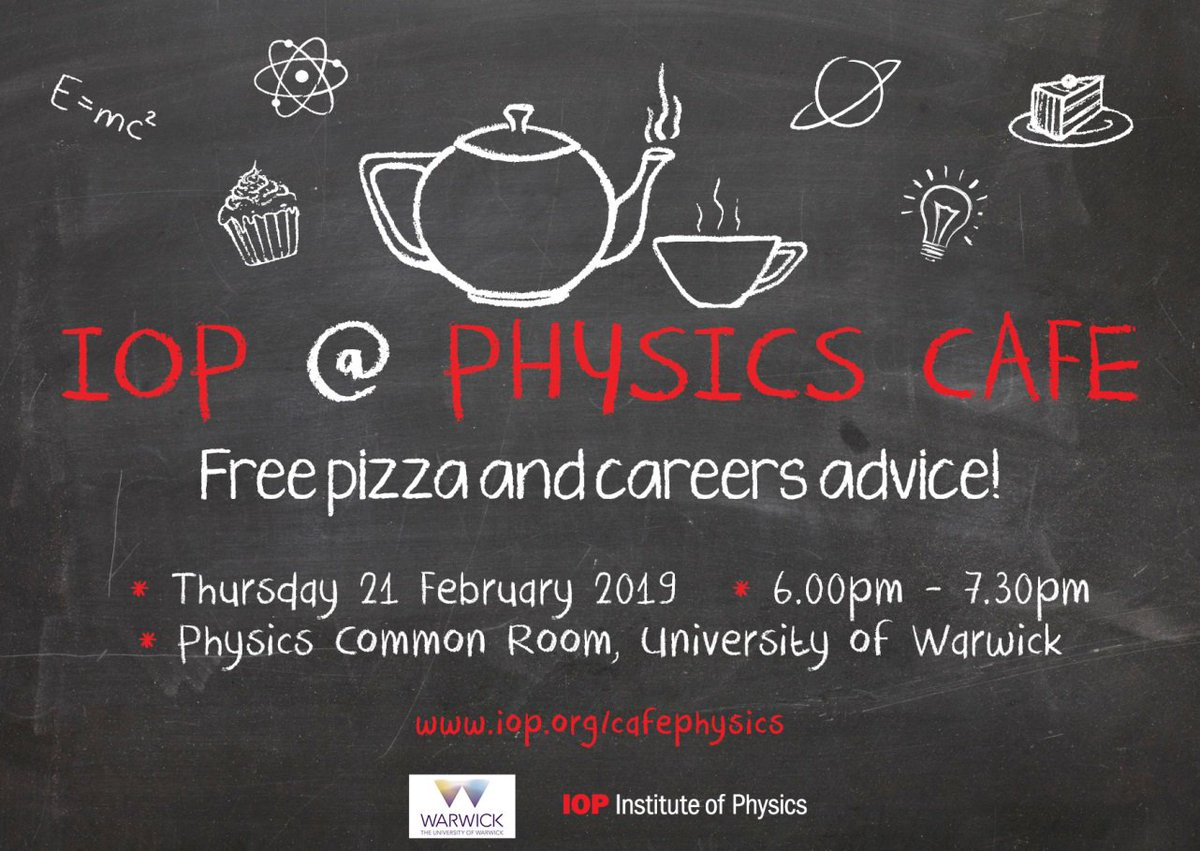 Are you at @warwickuni today? Join us today from 6:00pm - 7.30pm in the Physics Common Room to get info on how to #traintoteach #physics,and enjoy some free pizza! Register here:  https://t.co/PpI9rh644J
