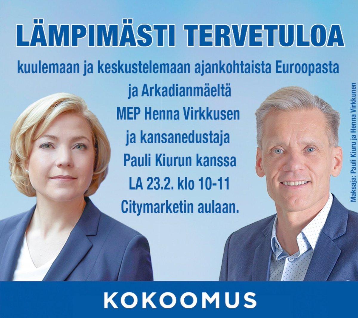 Lauantaina Valkeakoskella @KiuruPauli kanssa. Tervetuloa tapaamaan ja keskustelemaan 😊👍Kahvia on ☕️ #kokoomus #saatehdä