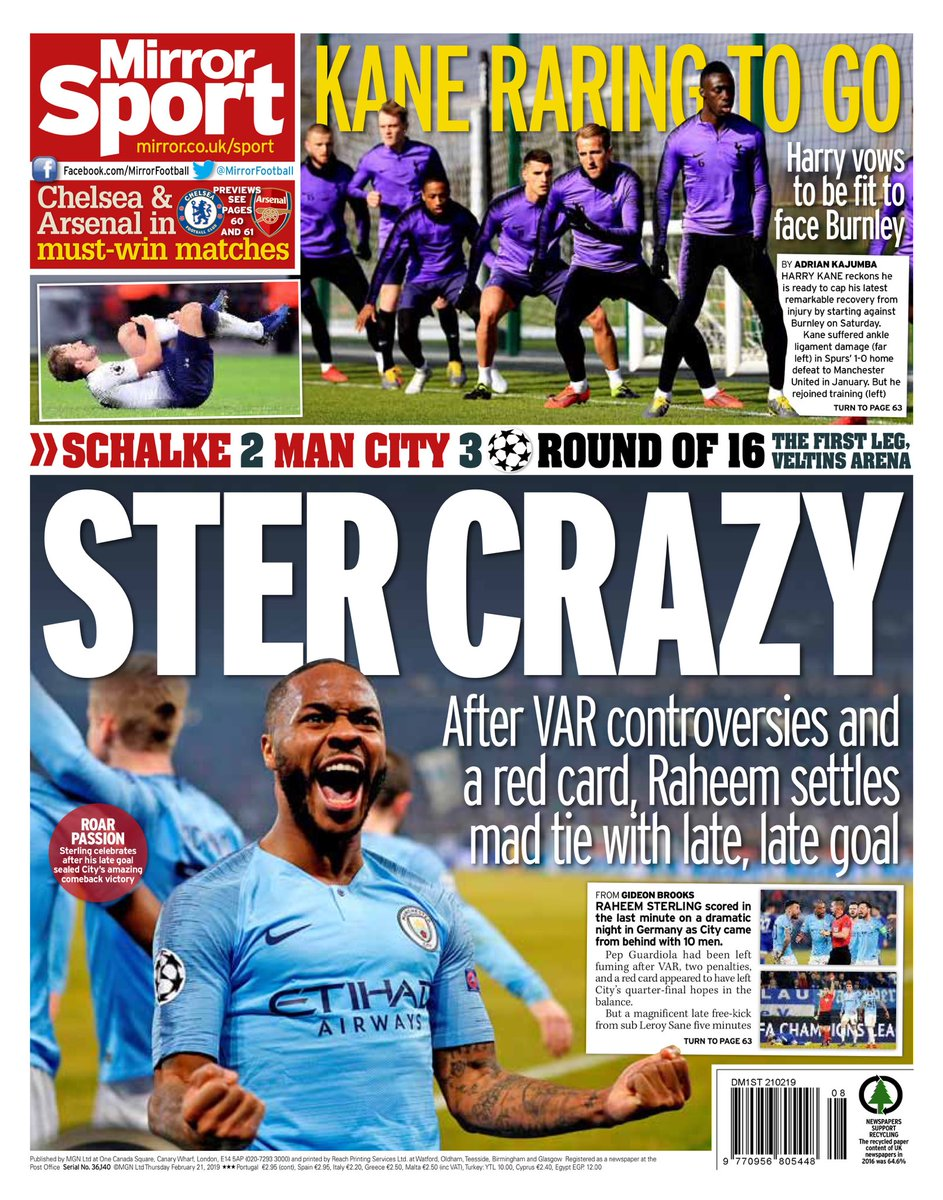 Le prime pagine #MirrorSport #StarSport