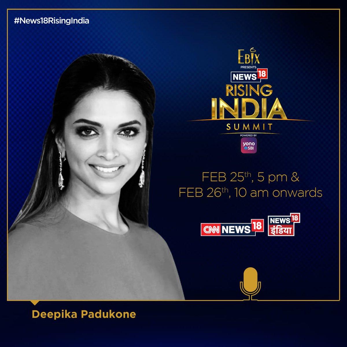 Don't miss out on #News18RisingIndia Summit 2019. Stay Tuned.   @EbixIndia @TheOfficialSBI #YONOSBI @UPGovt @OfficialJioTV  @deepikapadukone