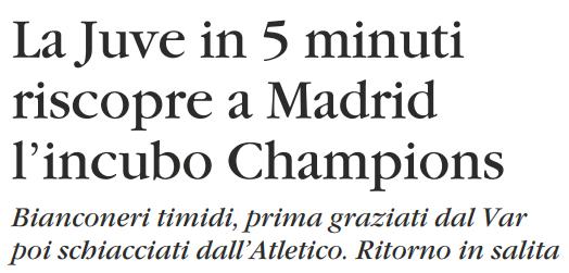La #Juve in 5 minuti riscopre a Madrid l'incubo della @ChampionsLeague   (#IlGiornale)