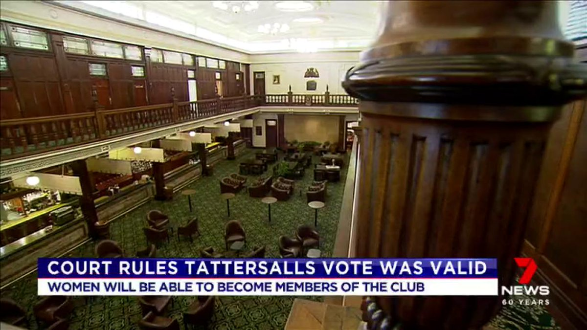 Women will be able to join the Tattersalls club in Brisbane, after the Supreme Court ruled a historic vote held last year, was valid.  #7News