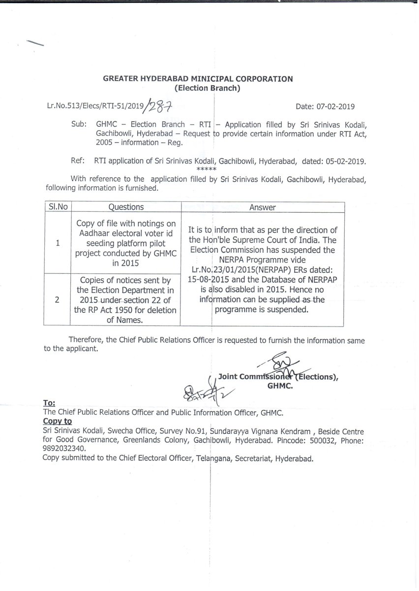 The voter deletions in Telangana happened because of #Aadhaar but @GHMCOnline election department won&#39;t share the pilot project details on EPIC Aadhaar linking details. #whereismyvote<br>http://pic.twitter.com/dgISV4QprP