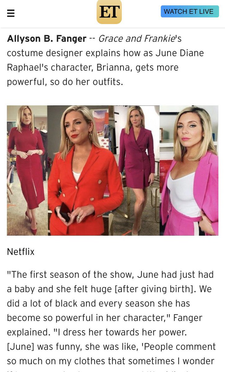 Desiree Murphy On Twitter Brianna S Costumes This Season Serious Wardrobe Goals Thank You Allysonfanger For Giving Us All The Deets On Dressing Msjunediane For Graceandfrankie Can T Wait To See What You