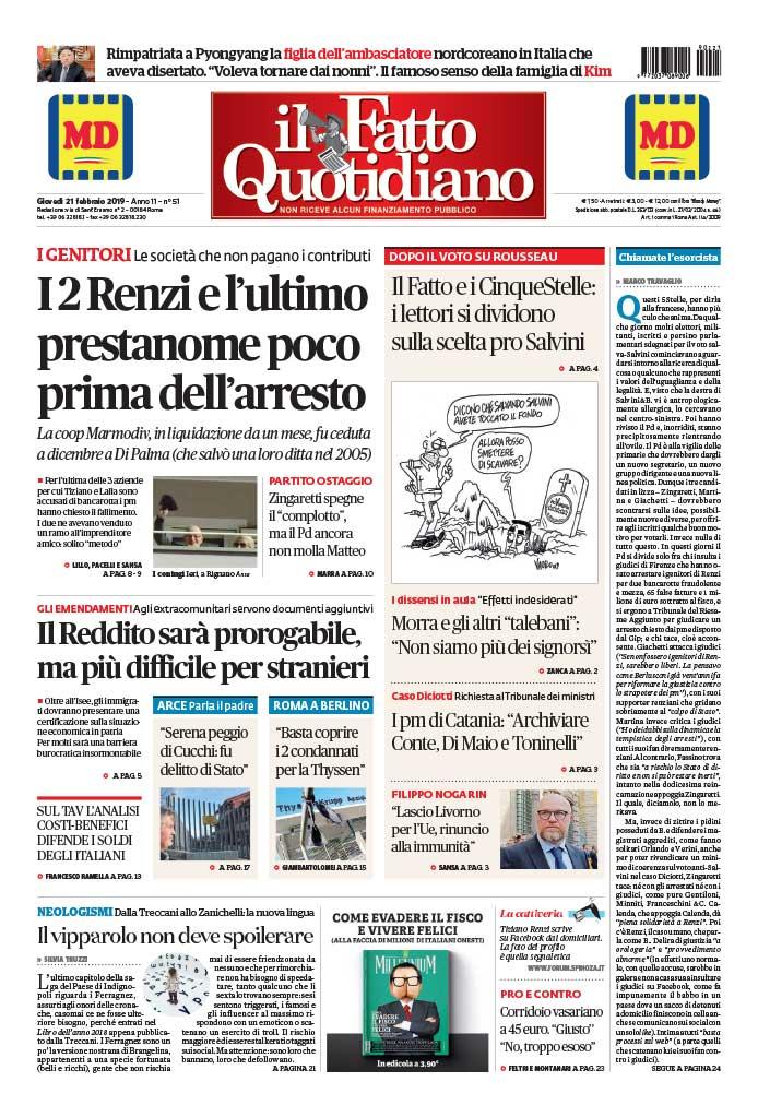 LA PRIMA PAGINA DI OGGI I 2 Renzi e l'ultimo prestanome poco prima dell'arresto #FattoQuotidiano #21febbraio #edicola [Continua su https://t.co/CbrRqzRS2F]