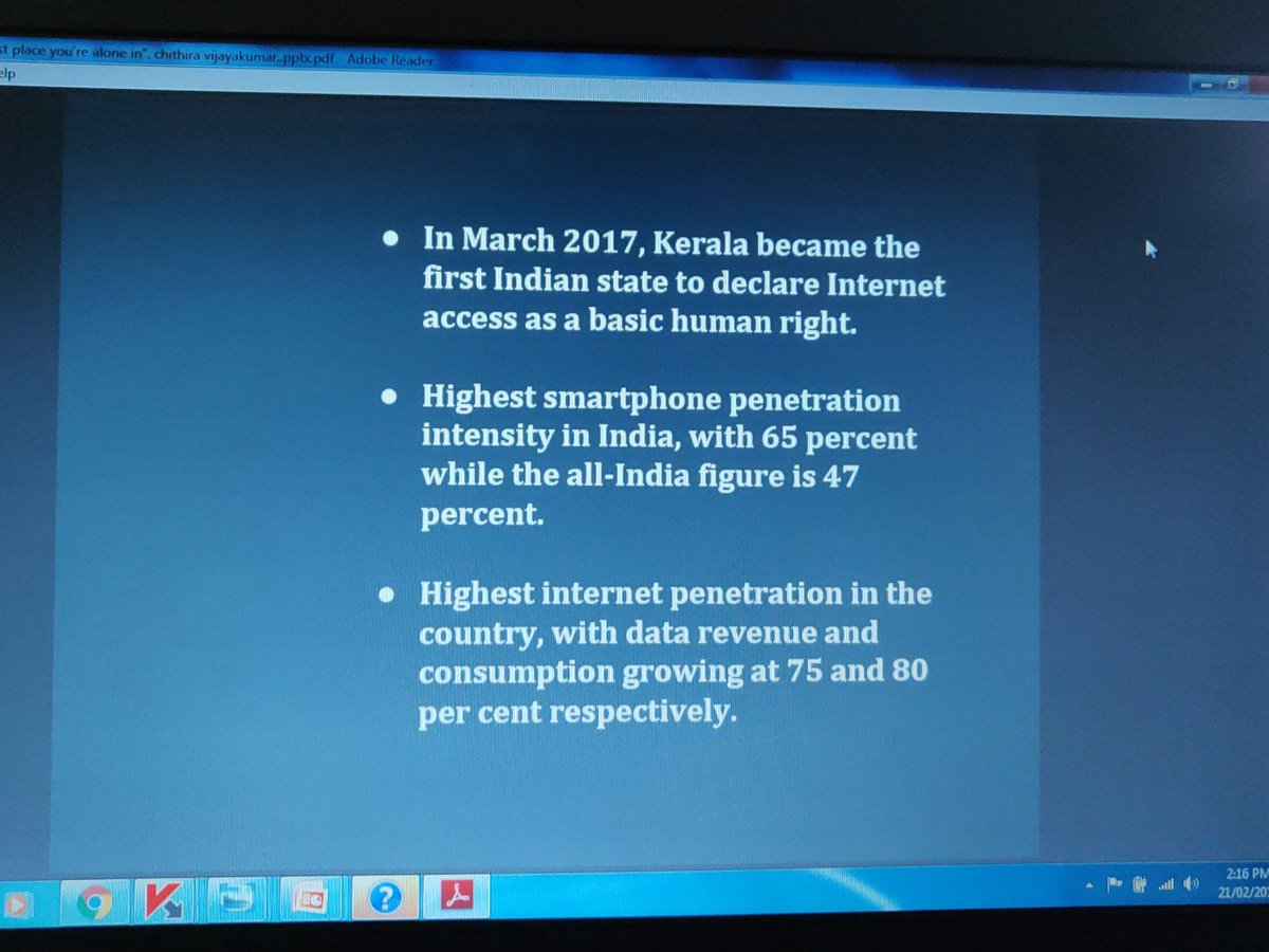 In March 2017, Kerala became the first Indian state to declare internet access as a basic human right. Has the highest smartphone penetration intensity as well as penetration. - @chithira_v #ImagineAFeministInternet #feministinternet #access