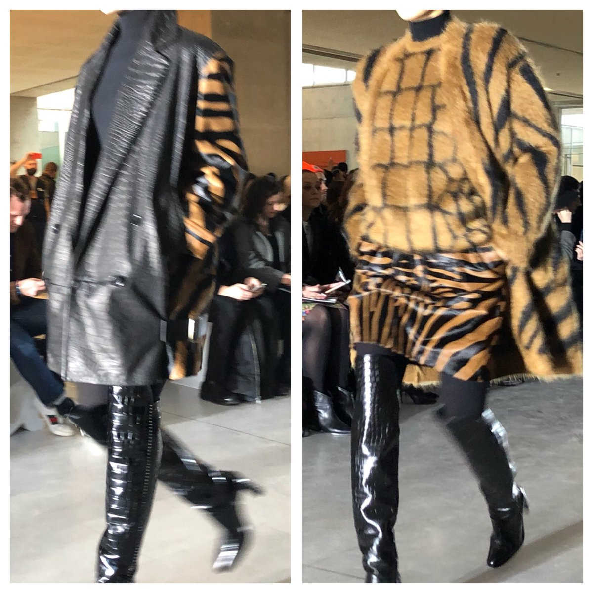 The menagerie of @maxmara: croc and tiger and zebra, oh my! #MFW