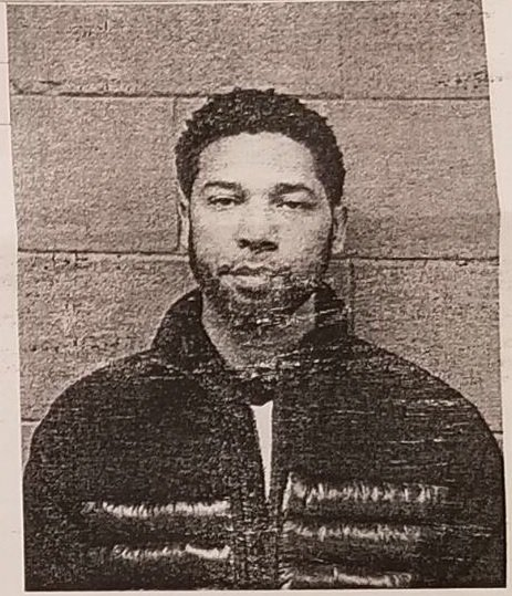 MUGSHOT: 'Empire' actor Jussie Smollett after being arrested and charged for filing a false police report (Credit: @MarissaBaileyTV)