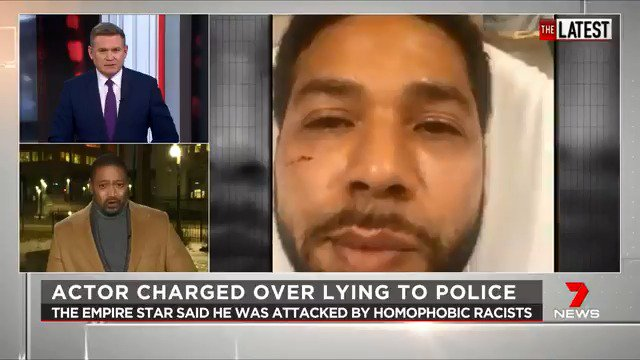 American actor Jussie Smollett has been charged with filing a false police report, after claiming he had been subject to a homophobic and racist attack back in January. @Ryanyoungnews #TheLatest  #7News
