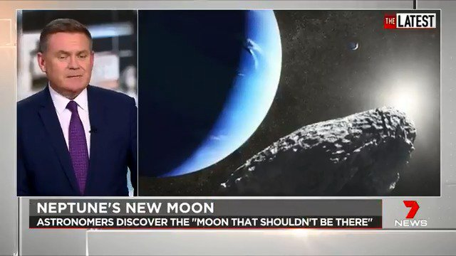 Astronomers have just discovered a miniature moon orbiting Neptune that has been puzzling them for years. Just 33km wide, the speck of a moon hurtles around the planet at 32,000km an hour. #TheLatest  #7News