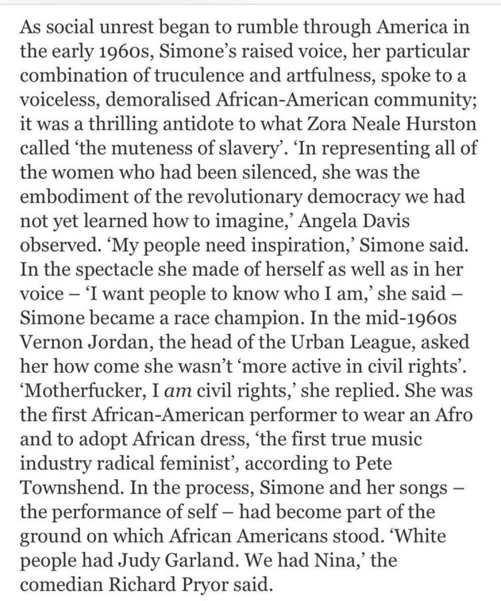 """In the mid-1960s Vernon Jordan, the head of the Urban League, asked Nina Simone how come she wasn't 'more active in civil rights'.  """"Motherfucker, I am civil rights,"""" #NinaSaid https://www.lrb.co.uk/v38/n12/john-lahr/backlash-blues…"""