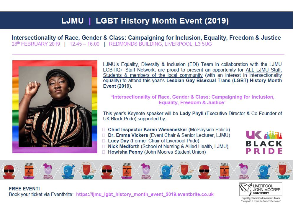 """One Week To Go! We are so excited for this year's LJMULGBT History Month Event (2019) """"Intersectionality of Race, Gender & Class: Campaigning for Inclusion, Equality, Freedom & Justice"""" with Keynote speaker @MsLadyPhyll (Executive Director & Co-Founder of @ukblackpride)"""