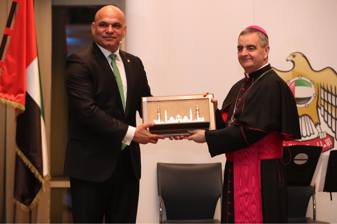 The Embassy of the #UAE &amp; the Apostolic Nunciature in #Berlin organized an evening dedicated to #dialogue, #respect for others &amp; #tolerance. 2019 was announced to be the #YearofTolerance in UAE and started w/the historic visit of @Pontifex to #AbuDhabi. @MOFAUAE #PopeFrancisInUAE <br>http://pic.twitter.com/N0zoRQWWre