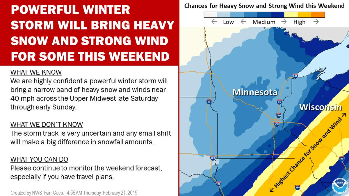 We&#39;re highly confident in a powerful winter storm this weekend, but the storm track keeps shifting so we&#39;re still not sure who will get heavy snow, and who will get nothing #mnwx #wiwx<br>http://pic.twitter.com/OsuG3VU9lb