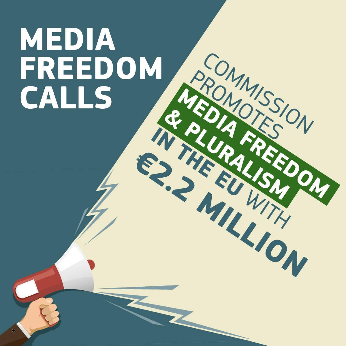 We promote and protect freedom of expression and quality journalism with no borders. Under #EUMediaCalls the  EU puts on the table €2.2 Million for projects on #mediafreedom and #pluralism   http:// bit.ly/EUmediaCalls  &nbsp;  <br>http://pic.twitter.com/ErlUZudyVs