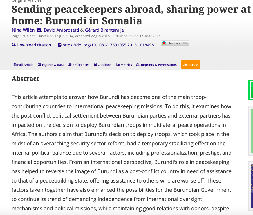 Why is Nkurunziza so reluctant to withdraw Burundian troops from AMISOM? Read our article on Burundi in AMISOM in @JEASjournal  https://www. jeuneafrique.com/738032/politiq ue/retrait-des-troupes-burundaises-de-lamisom-le-burundi-et-la-somalie-demandent-un-sommet-urgent/ &nbsp; … <br>http://pic.twitter.com/MVp7wax24K