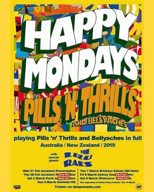Happy Mondays Australia / New Zealand tour starts in a few days... with support from The Lulu Raes. ⠀⠀⠀⠀⠀⠀⠀ Final Tickets 🎫https://sbmpresents.com/tour/happymondays/…