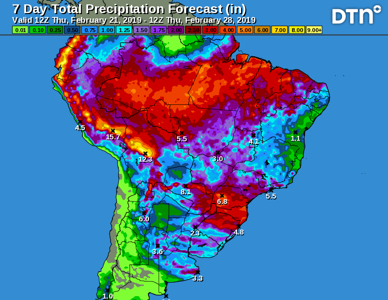 RT @BAndersonDTN: DTN #Brazil 7-day precip forecast Thursday. Rainy season revival. #safrinha https://t.co/wqRjleTUbw