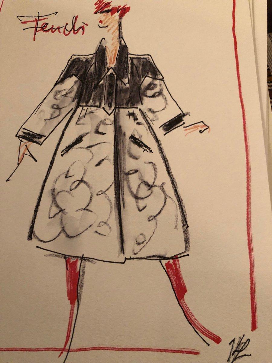 Last Karl Lagerfeld sketches for @fendi #MFW