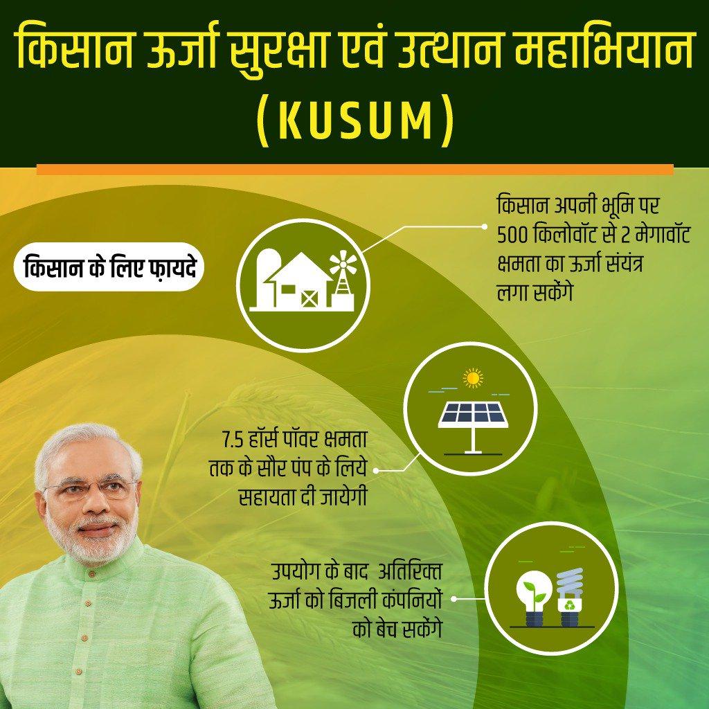 सरकार ने किसान ऊर्जा सुरक्षा एवं उत्थान महाभियान (KUSUM) को मंजूरी दी, यह अभियान किसानों के जीवन में अभूतपूर्व परिवर्तन लाने वाला है। इससे किसान स्वयं बिजली उत्पादन कर उसका उपयोग सिंचाई के लिये करेंगे तथा अतिरिक्त बिजली को बेच कर आय भी प्राप्त कर सकेंगे।  https://t.co/5SCrOSpLZS