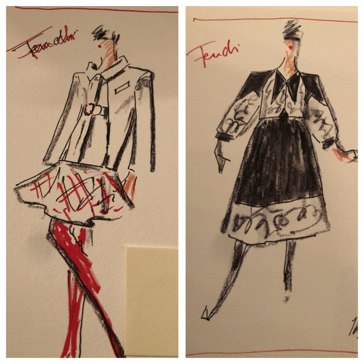 Two more sketches from Karl for @fendi #MFW
