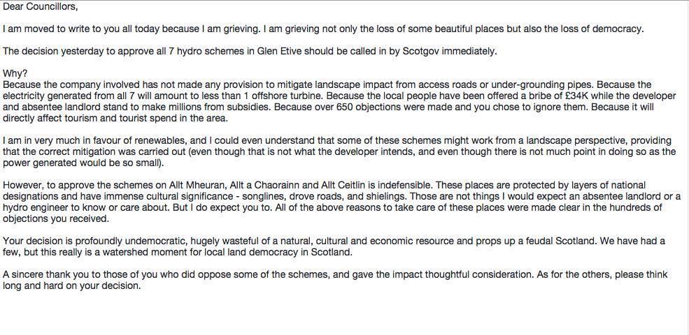 RT @davidjlintern: A letter I sent to @HighlandCouncil this morning about Glen Etive. https://t.co/k1UR2uTbzr