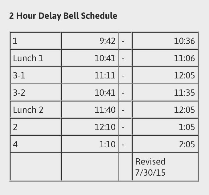 Two hour delay schedule for your reference, Colonels!  <br>http://pic.twitter.com/zSrzVs5kxq