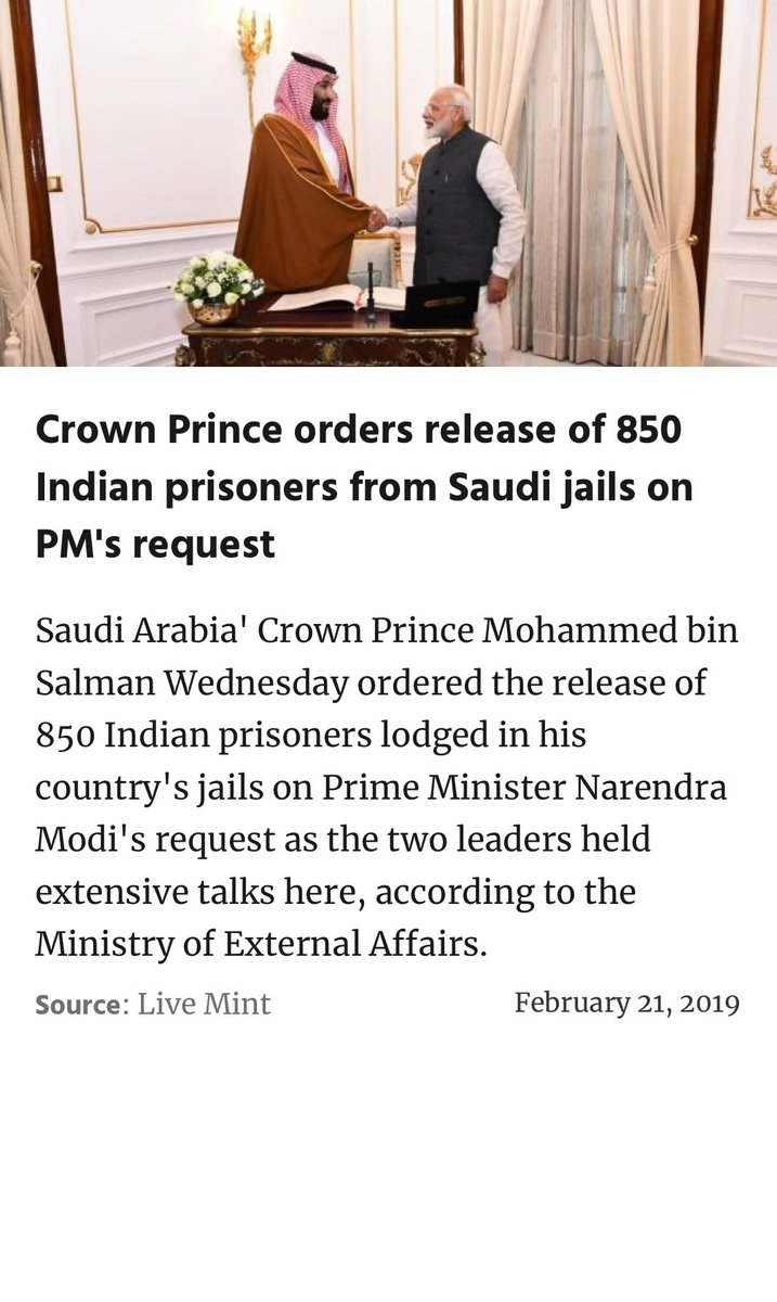 Crown Prince orders release of 850 Indian prisoners from Saudi jails on PM ⁦@narendramodi⁩ ji's request  https://www.livemint.com/news/world/crown-prince-orders-release-of-850-indian-prisoners-from-saudi-jails-on-pm-s-request-1550690385789.html …