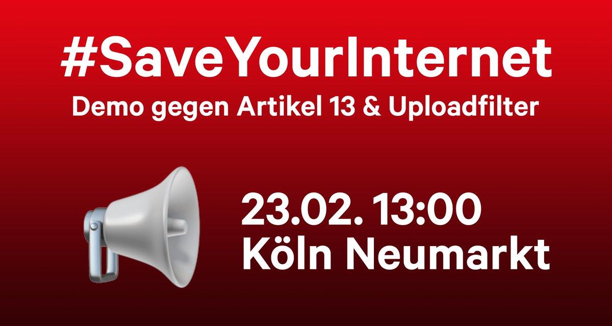 🚨Samstag Demo gegen #Uploadfilter / #Artikel13 in Köln!  👉 Weitersagen! #Merkelfilter #SaveYourInternet  ✍️ Petition: http://change.org/savetheinternet-de… 📢 Demos: http://savetheinternet.info/demos