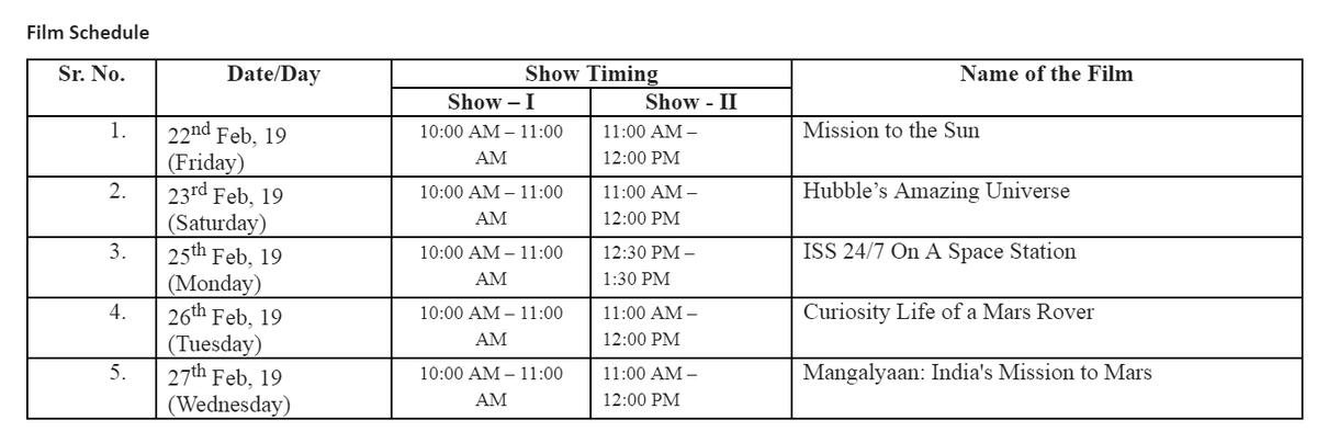 Schedule of Films