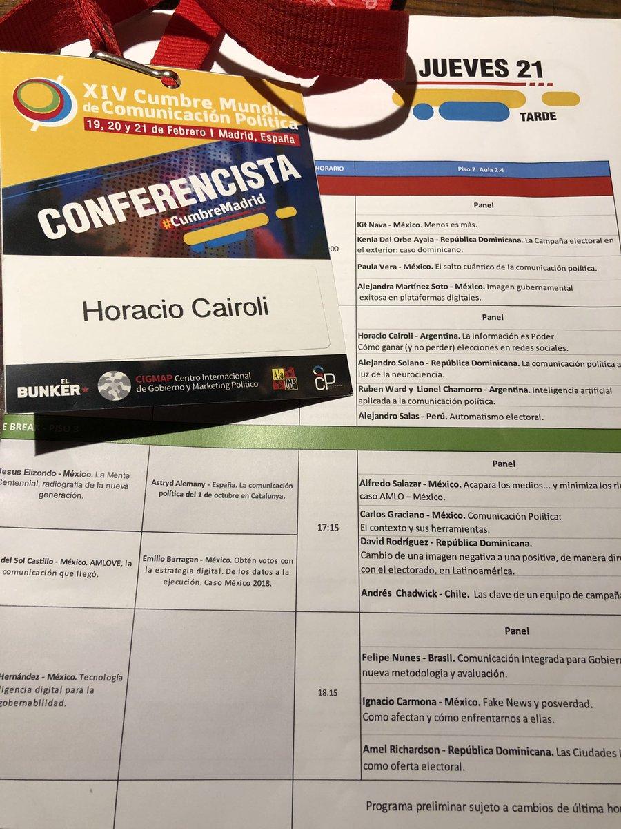 A las 16hs @Horacio_Cairoli estará compartiendo la experiencia de SocialLive en el uso de #BigData en Campañas Políticas. #cumbremadrid🇪🇸 https://t.co/maiQG9iNIc